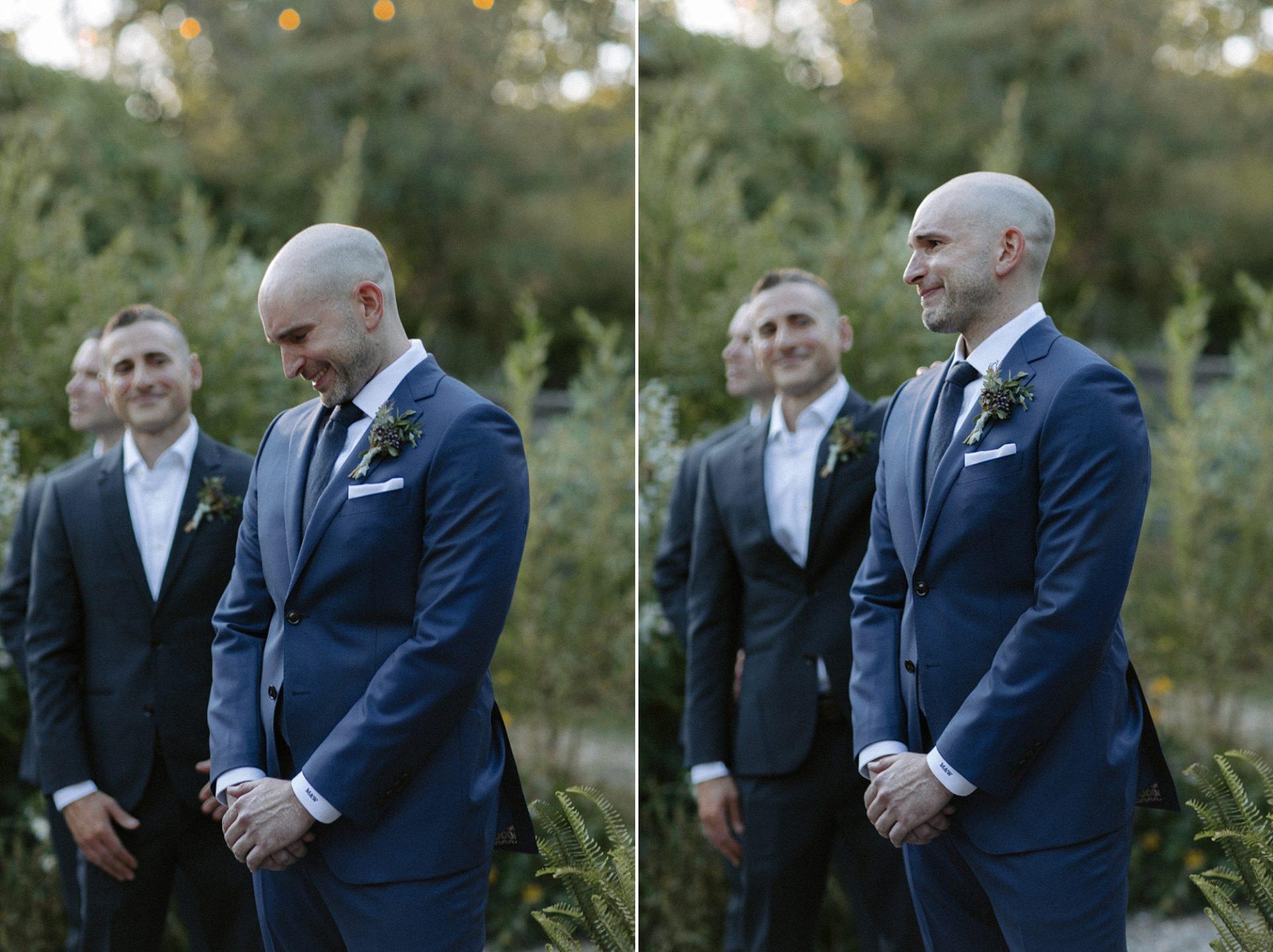 Groom crying at wedding at M & D Farm