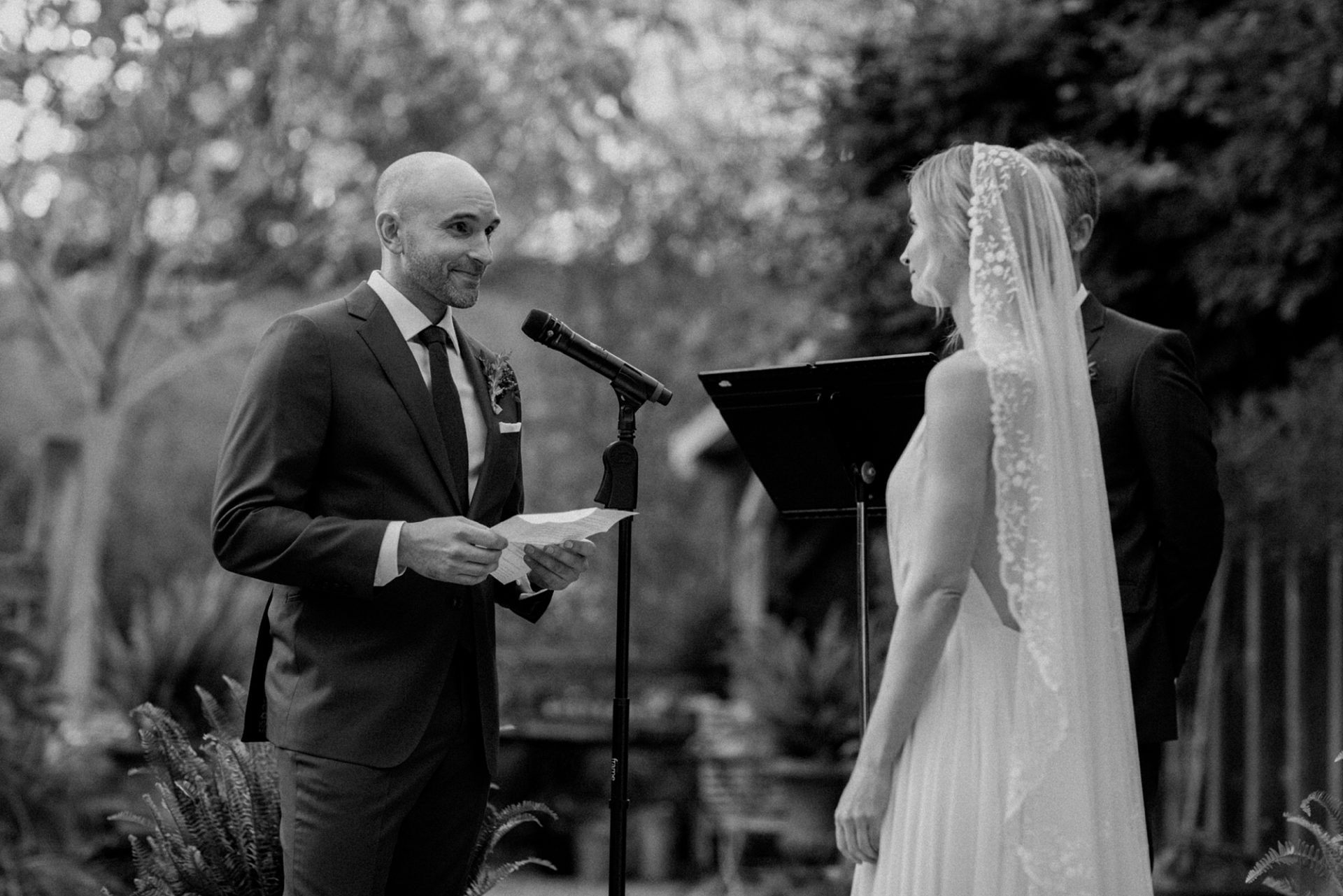 Groom reading vows at M & D Farm