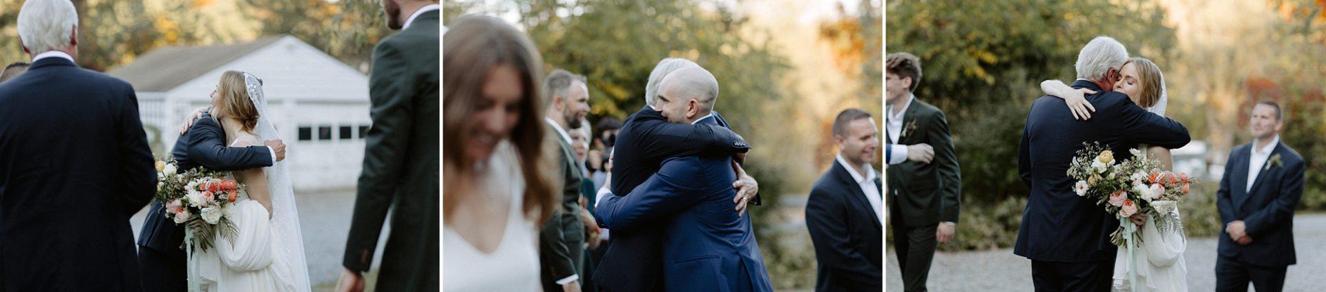 Hugging guests at M & D Farm