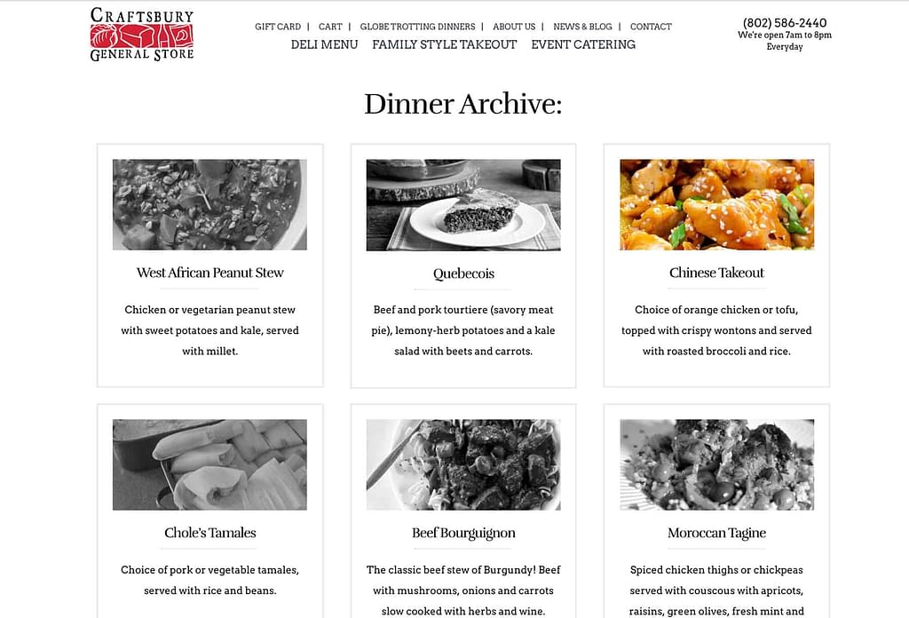 Screenshot of the Craftsbury General Store Wednesday Globe Trotting Dinners Archive