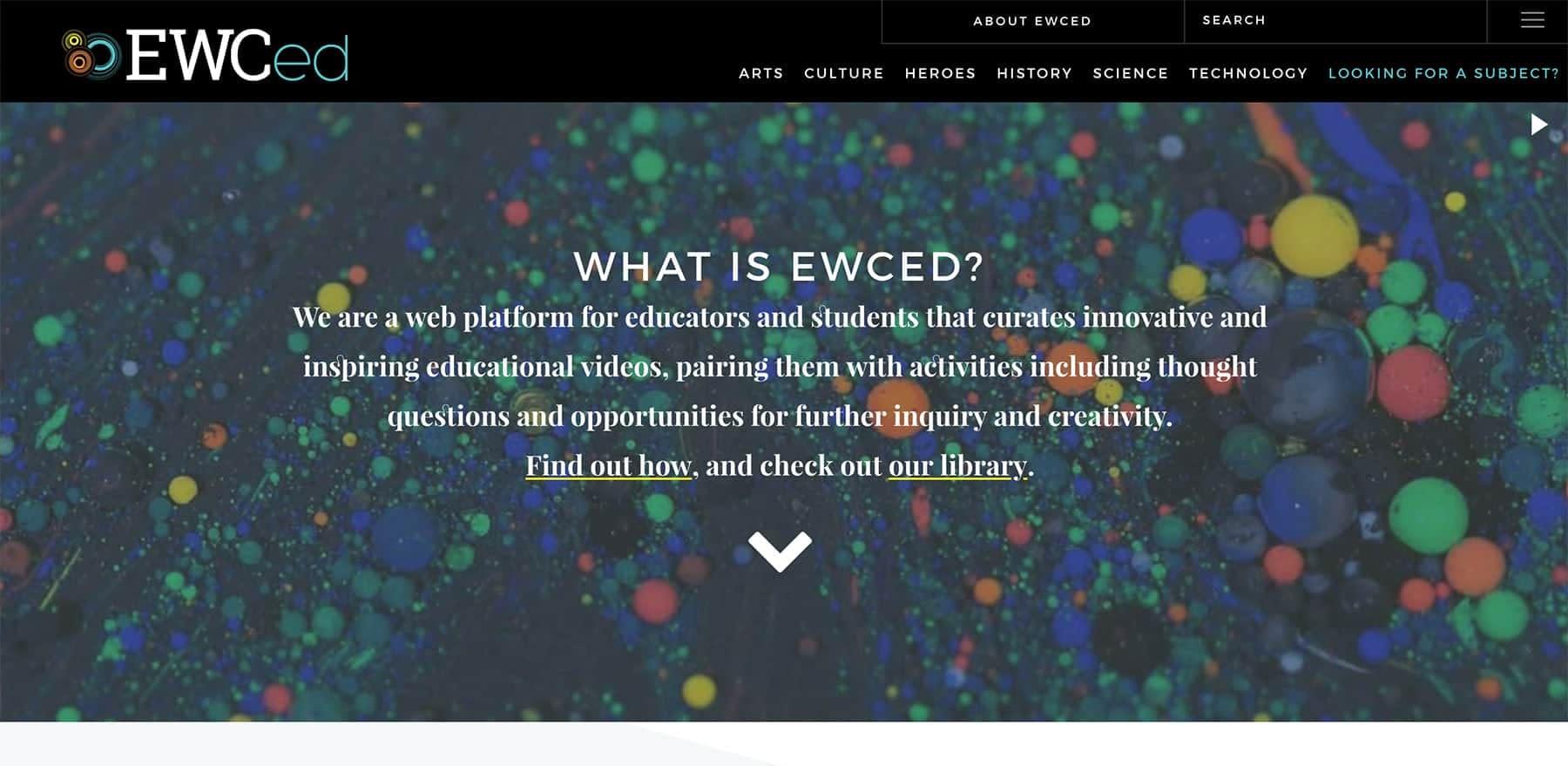 Screenshot of the EWCed Landing Page