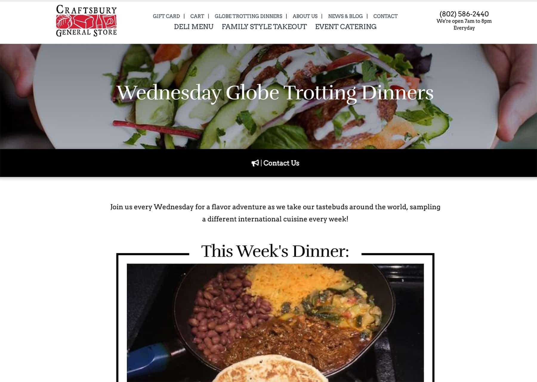 Screenshot of the Craftsbury General Store Wednesday Globe Trotting Dinners Part 1