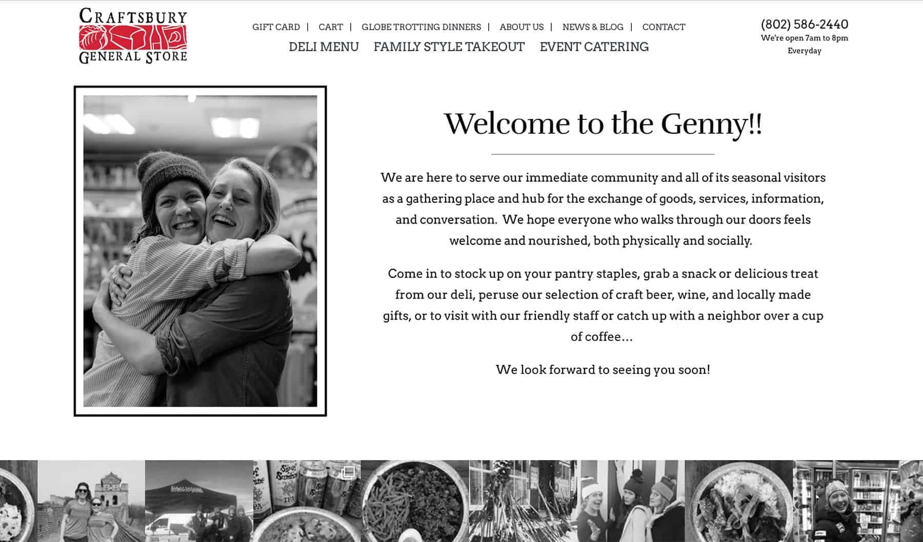 Screenshot of the Craftsbury General Store Homepage