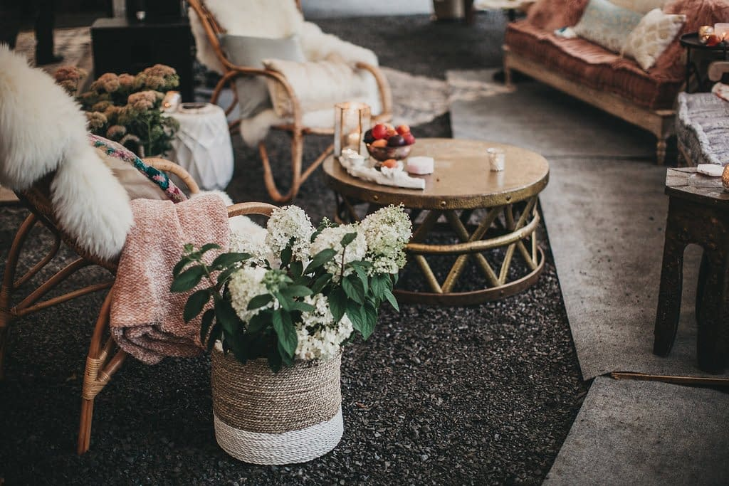 Tented fall micro wedding reception decorations for lounge area featuring September dried pampas grass in a neutral modern bohemian palette by Nectar and Root, Vermont wedding florist at Foxfire Mountain House in Catskills, New York.