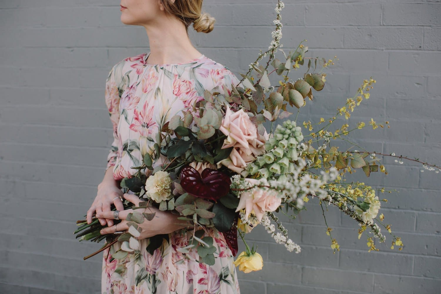 A simple spring bridal bouquet of March flowers in a neutral color palette by Nectar and Root, Vermont wedding florist in Brooklyn, New York.