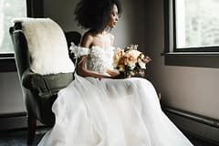 Press feature of orange spring bridal bouquet by Nectar and Root, Vermont wedding florist at Foxfire Mountain House in the Catskills, New York.
