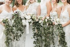 Lush greenery bridesmaids' bouquets by Nectar and Root, Vermont wedding florist at Shelburne Museum in Shelburne, Vermont.
