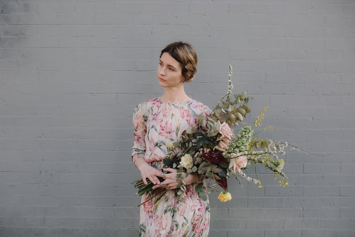 A lush spring bridal bouquet of March flowers in a neutral color palette by Nectar and Root, Vermont wedding florist in Brooklyn, New York.