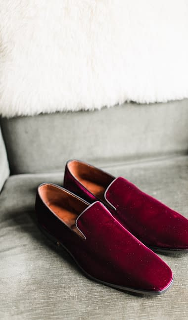 Burgundy mens dress shoes inspired by Nectar and Root, Vermont wedding florist at Foxfire Mountain House in the Catskills, New York.
