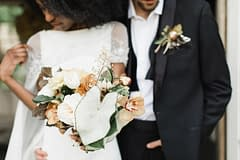 Spring bridal bouquet by Nectar and Root, Vermont wedding florist at Foxfire Mountain House in the Catskills, New York.