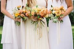 A simple summer bride bouquet of July flowers in a neutral color palette by Nectar and Root, Vermont wedding Florist at Riverside Farm in Pittsfield, Vermont.