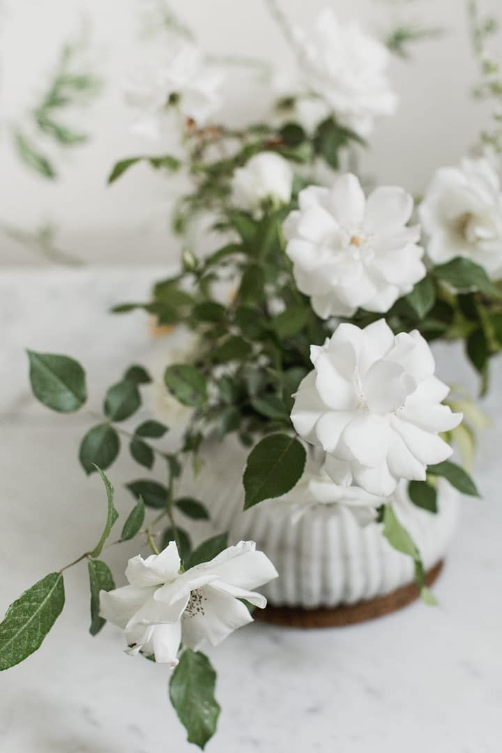 Peony centerpiece by Nectar and Root, Vermont wedding florist at Shelburne Museum in Shelburne, Vermont.