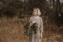 A modern spring bridal bouquet of April flowers in a moody color palette by Nectar and Root, Vermont wedding florist in Burlington, Vermont.