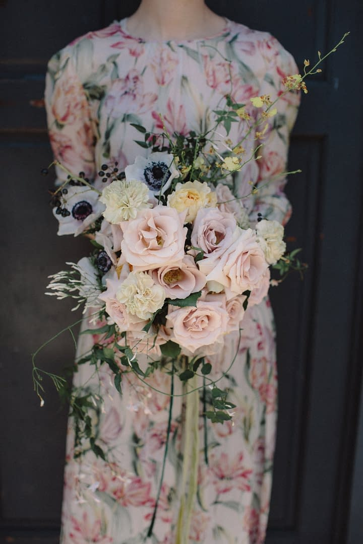 A modern spring bridal bouquet of March flowers in a neutral color palette by Nectar and Root, Vermont wedding florist in Brooklyn, New York.