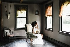 Moody neutral bridal bouquet by Nectar and Root, Vermont wedding florist at Foxfire Mountain House in the Catskills, New York.