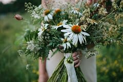 A boho summer wildflower bridal bouquet of August echinacea flowers in a rust and white color palette by Nectar and Root, Vermont wedding florist.