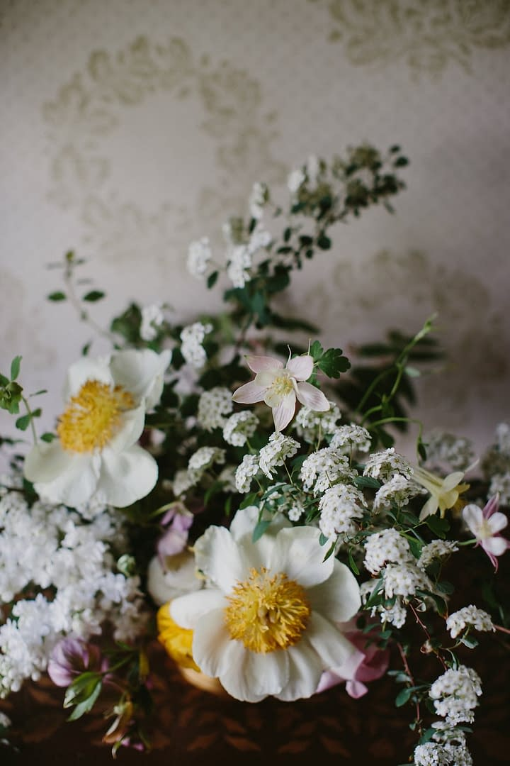 Spring centerpiece by Nectar and Root, Vermont wedding florist at Shelburne Coach Barn in Shelburne, Vermont.