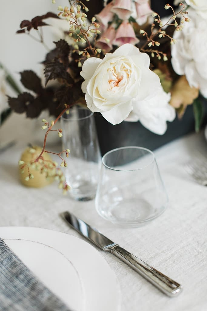 Peach garden roses centerpiece by Nectar and Root, Vermont wedding florist at Foxfire Mountain House in the Catskills, New York.