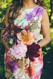 A lush summer bridesmaid bouquet of June flowers in a neutral color palette by Nectar and Root, Vermont wedding florist at Alerin Barn in Saint Johnsbury, Vermont.