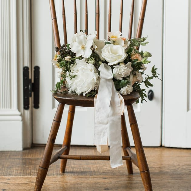 Classic spring peony bouquet by Nectar and Root, Vermont wedding florist at Shelburne Museum in Shelburne, Vermont.